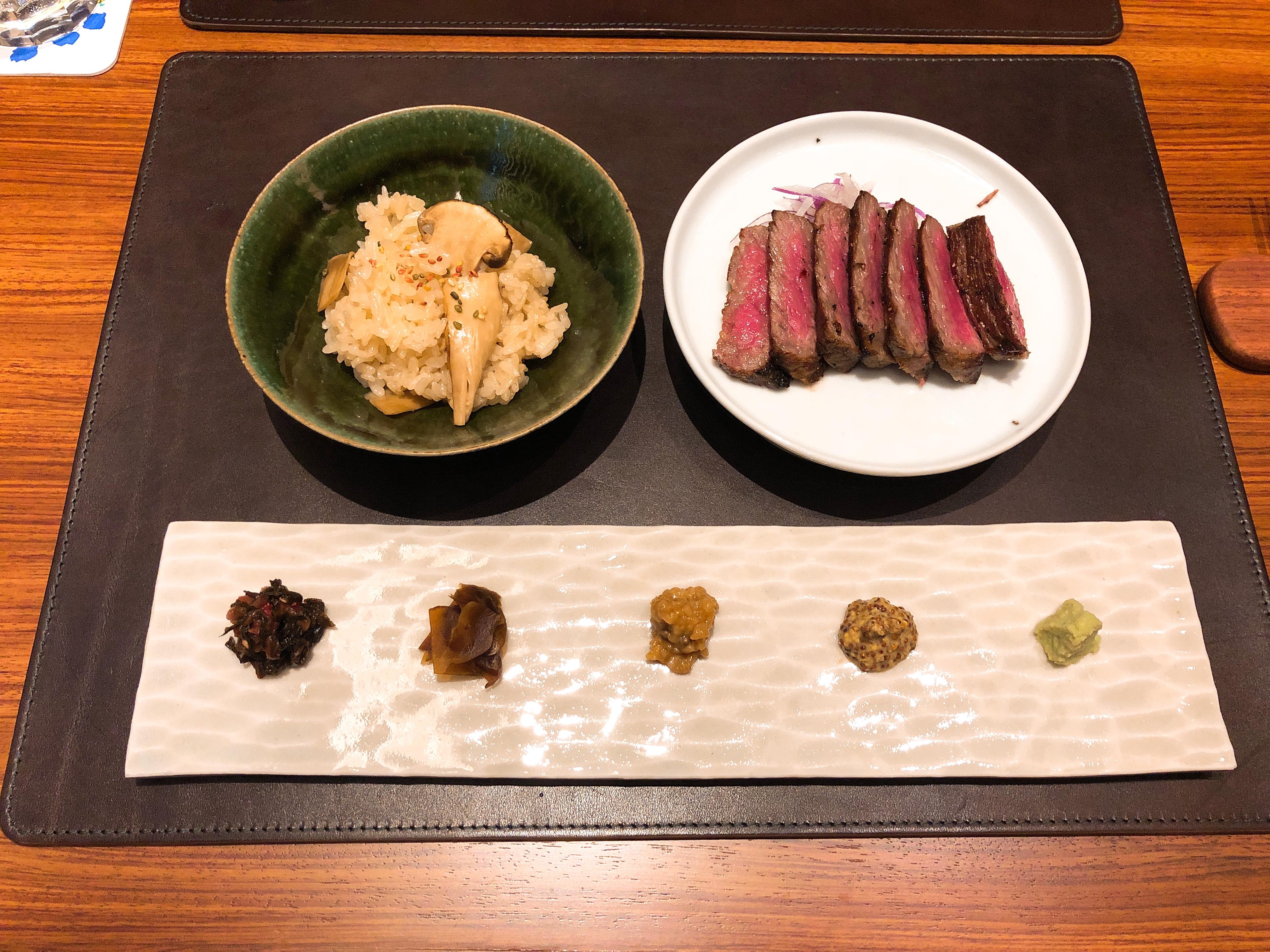 松茸ご飯+90日熟成尾崎牛のサーロイン